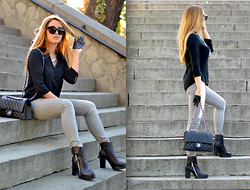 Martina Manolcheva - Zara Shirt, H&M Jeans, Choies Necklace, Celine Sunglasses, Chanel Bag, Choies Gloves - Casual In Black And Grey