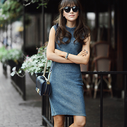 Diana Z Wang - Alexander Wang Knit Dress, Chanel Boy Purse, Illesteva Sunglasses - Indigo Knit
