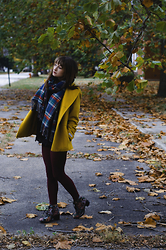 Sarah Huff - D&Y Plaid Blanket Scarf, St. John's Bay Yellow Peacoat, Forever 21 Red Tights, Diba Floral Pattern Boots - Meadowlark