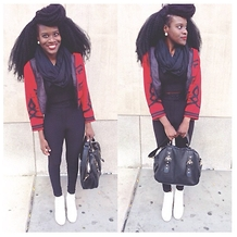 Kay Faro - American Apparel Riding Pants, Topshop Scarf, Buffalo Exchange Blazer - School days