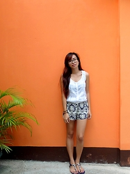 Katrina Enrera - White Sleeveless Top, Pattern Pajama Shorts - Orange Wall