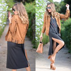 Helena Cueva - The Desire Shop Jacket, Zara Dress, Zara Handbag, Zara Sandals - The Jacket
