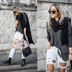 Alison Liaudat - Style Moi White Ripped Jeans, Urban Outfitters Suede Bag, Minelli Low Boots, Freyrs Tortoise Sunglasses - Scarf & Grey.