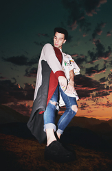 Antoine Nicol - Me Coat, Me Babar T Shirt, Cheap Monday Skinny, Thrift Platforms - Journey in The Vivid Dream