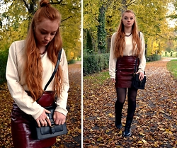 Jana J. - Zara Leather Skirt, Joop White Sweater, Asos Bag - Fall into Marsala