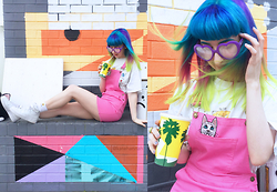 Kate Hannah - Polyester Galaxy Cat Pinafore Dress, Polyester Galaxy Cat Shirt (Vintage), Frothlyf Rainbow Tripper Glasses - ~PRETTY KITTY~