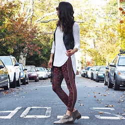 Lindsay W. - Free People Sweater Leggings, Lf Cream Sweater, H&M Leather Vest, Sam Edelman Booties - Sweggings