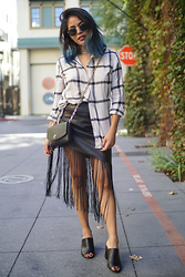 Eda Semana - Harper Trends Fringe Skirt, H&M Plaid Flannel Top, Tory Burch Crossbody Bag, Forever 21 Mules - On The Fringe About It