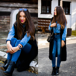 Gabriela Grębska - Lucluc Sunnies, Deezee Ankle Boots, Zara Denim Shirt, Timex Watch, Zara High Waist Jeans, Sinsay Black Vest - Denim duo
