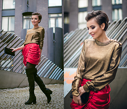 Lucine A - Balmain X H&M Golden Top, Balmain X H&M Red Skirt, Zara Over Knee Boots - Balmain Army
