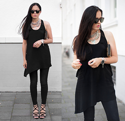 The Day Dreamings - Zara Sandals, Zara Dress, Cluse Watch, Happiness Boutique Necklace Statement, Wolfnoir Sunglases, Zara Skinny Jeans, Status Anxiety Wallet - Statement pieces