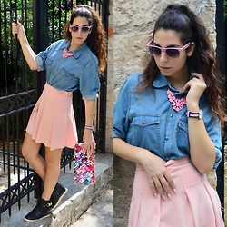 Marina Mavromati - Style Moi Pink Pleated Skirt, Daniel Wellington Watch, Bozikis Black Wedged Sneakers, Ray Ban Pink Polka Dots Sunglasses - After School!