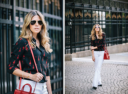 Maristella Gonzalez - Freyrs Aviator Sunglasses, Saint Laurent Guitar Embroidered Shirt, White Flare Jeans, Zara Suede Pumps, Saint Laurent Red Sac De Jour, Madewell Gold Bracelet - Rocking Saint Laurent