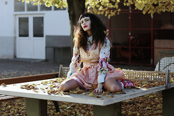 †Norelle Rheingold† - Otto Kern Blouse, Vintage Dress, Diy Shoes - Fallen Leaves on the Ground