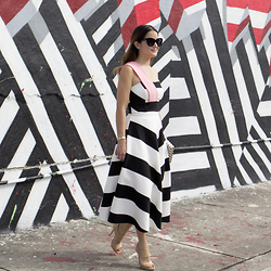 Jenn Lake - By Johnny Striped One Shoulder Bodice, By Johnny Striped Midi Skirt, Jimmy Choo Nude Patent Sandals, Quay Black Sunglasses, Dana Rebecca Designs Tuquoise Earrings, Kate Spade Striped Clutch - Black and White Striped Crop and Skirt