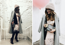Katu Mikheicheva - @Teplo Boutique Woolenhat, Coccinelle Leather Bag, H&M Lace Top, Topshop Awesome Skirt, @Misha4sure Grey Coat, @Misha4sure Decorative Eyewear, Sam Edelman Leather Boots - Pastel'n'Black