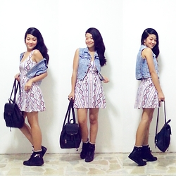 Charlenejoie - H&M Dress, Esprit Bag, Dune Shoes - Aztec x Denim.