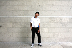 Dan Pantoja - American Apparel Black Cuffed Beanie, Adidas White Tennis Top, Asos Black Wool Trousers, Converse All Leather Black Chucks - INCOGNITO MODE Δ