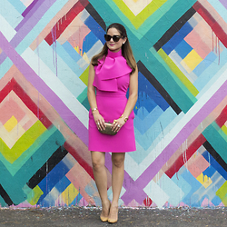 Jenn Lake - Aj Morgan Eyewear Tortoise Sunglasses, Kate Spade Crystal Earrings, Giles And Brother Gold Cuff, Club Monaco Bronze Clutch, Msgm Pink Dress, Manolo Blahnik Beige Pumps - Pink Tie Neck Dress