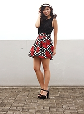 Jeanne Khe - Curtsy Black Top, Curtsy Polka Dot Skirt W/ Rose Prints, Forever21 Hat - Polka Lots