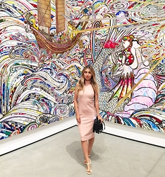 Savvy Javvy - Ribbed Pink Turtleneck Dress, Jelly Flats, Fringe Purse - Fashion Meets Art in LA