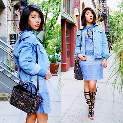 B @Style Voyage - Diane Von Furstenberg Lace Shirt Dress, Stylenanda Denim Jacket, Topshop Gladiator Sandals, Diane Von Furstenberg Secret Agent Confetti Tweed Tote, H&M Blue Stone Ring - Blue Crush