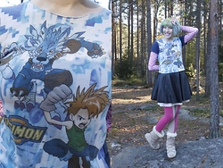 Lindwormmm - Thrifted Yamato Garurumon Digimon Tshirt, Monki Two Toned Pink Nougat Tights, Moon Boot Furry Moonboots, Lavender Latte Shop Sweets Bow - Freezing Digital Monsters