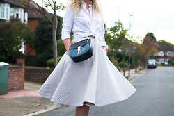 Clare Astra Morris - Gant White Shirt, H&M Swing Skirt, Drew Bag - Swing