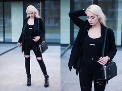 MONIKA S - Newdress Classic Lapel Coat, Newdress Waterfall Cardigan, Misbehave 3:67 Tank Top, Parfois Biker Bag, Stradivarius Track Sole Boots,, Wholesalebuying High Waisted Ripped Jeans - AWAKE