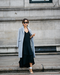 Diana Z Wang - Keepsake The Label Dress, Missguided Tailored Coat, Manolo Blahnik Sandals, Karen Walker Sunnies - Monochrome Monday