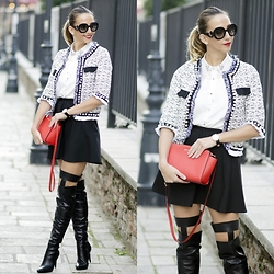 Manuella Lupascu - Romwe Tweed Jacket, Inia Lavin Over The Knee, Prada Sunglasses, Michael Kors Leather Bag - Classy outfit and new Inia Lavin boots