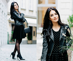 Edisa Shahini - Dc Dress, Zara Leather Jacket - BLACK MAGIC