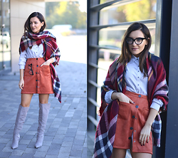 Sandra Bendre - Choies A Line Skirt, Yoins Scarf, Little Mistress Boots - A line skirt