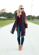 Meagan Brandon -  - Burgundy Plaid Scarf