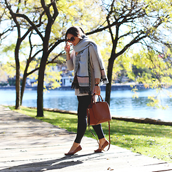 Alexandra G. - Express Blanket Scarf, Express Leather Leggings, Express Knit Sweater, Aritzia Structured Leather Bag - Blanketed
