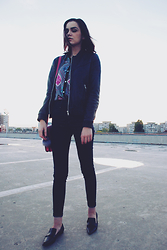 Andreea Birsan - Mango Leather Jacket, Levi's® Shirt, Hermès Bag, H&M Jeans, Mango Pointy Loafers - 0311