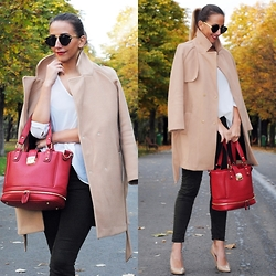 Manuella Lupascu - Romwe Coat, Shopbop Bag, Shopbop Stiletto - Camel and Khaki