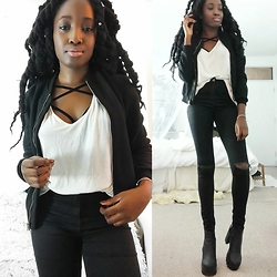 Vanessa M. - Boohoo White Tshirt, Ann Summers Harnessa Braa, Missguidded Bomber Jacket, New Look Distressed Skinny Jeans, Cleated Boots - Simplicity