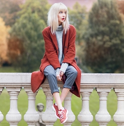 Ebba Zingmark - Brixtol Coat, Designers Remix Sweater, S.Oliver Premium Pants, Adidas Stan Smith Shoes - RUSTY
