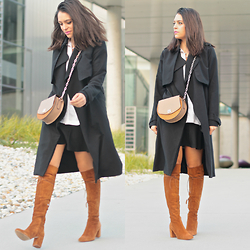 Natalia M - Pull & Bear Oversized Black Trench, Zara Mini Bag, Zara Black Mini Skirt, Zara Over The Knee Boots - BICOLOR DREAM