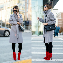 Pam Hetlinger - H&M Grey Coat, Aldo Red Booties - Red Booties
