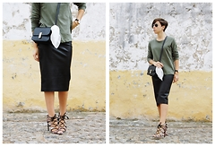 Maria Marques - Pull & Bear Sweatshirt, Zara Midi Skirt, Pull & Bear Aviator Sunglasses, Ebay Black Crossbody Bag, Zara Laced Heels - Midi skirt & Khaki Sweatshirt