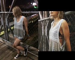 Agnes W - Nasty Gal Tank Top, One Teaspoon Bikini Top, Hollister Denim Shorts, Converse Chuck Taylors - Unchained