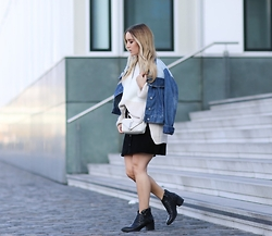 Fashiontwinstinct - Mango Knit, Mango Denim Jacket, Zara Skirt, Saint Laurent Bag, Clarks Boots - Suede meets Huge Knit.
