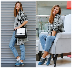 Yulia Sidorenko - Oasap Cardigan, Sinsay T Shirt, Choies Mom Jeans, New Balance Sneakers, Dresslink Bag - Shopping outfit