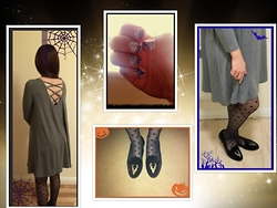 Emchloe - Sheinside Grey Backless Lattice Dress, Degrade Purple Nail Polish, Parkland  Tkmaxx Deer Velvet Black Plimsols, Asos Black Heart Tights - *+*HalloweenNight*+*