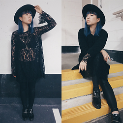 Kimchi - Aldo Wide Rimmed Hat, Urban Outfitters Lace Dress, Forever21 Faux Leather Leggings, Zara Pointed Booties, Brandy Melville Usa Crystal Necklace, Aritzia Faux Fur Coat, Aritzia Lace Bralette - All about that Lace
