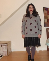 Selina M - Yesstyle Heart Print Jumper, Swapped Beaded Skirt - All's fair in love and pins