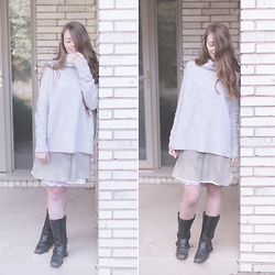 Rebecca Jacobs - Aritzia Sweater, Aritzia Shirtdress, Vintage Motorcycle Boots - Layers monochromatic