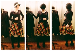 Whitney George - American Apparel Vintage Edition Primary Color Plaid Skirt, H&M Basic Long Sleeved Black T Shirt, Allsaints Asymmetrical Deep Blue Cardigan, Kimshi Blue Black Straw Cloche Hat With White Ribbon - Color Me With Crayons